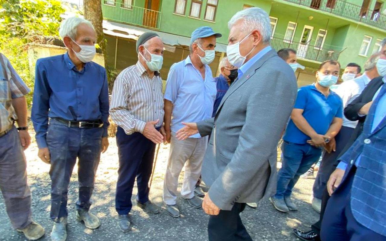 AK Parti Genel Başkan Vekili Binali Yıldırım sel bölgesinde